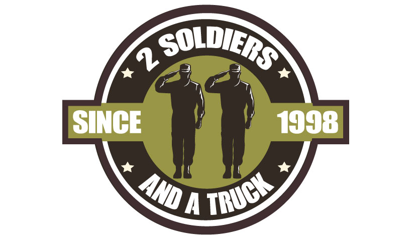 2 Soldiers And A Truck Movers Orange TX Logo